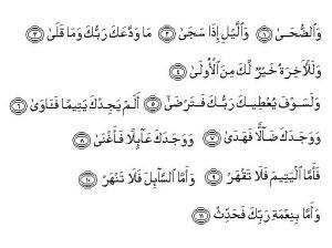 Qur'an Surat 93. ADH DHUHAA ayat 1-11.